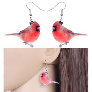 Red Cardinal Acrylic Earrings